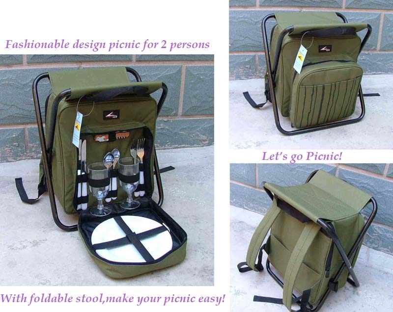 Picnic Backpack With Foldable Stool