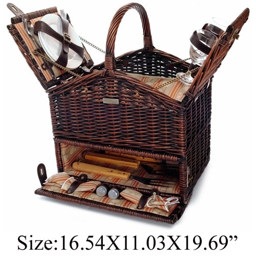 Willow BBQ  Basket for 2 persons use