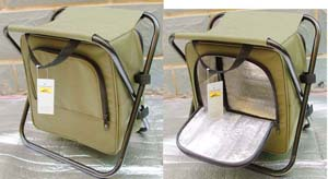 Food cooler bag with foldable stool